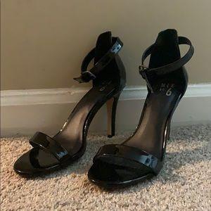Black paten leather strap sandals